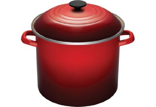 Le Creuset 10qt Covered Stock Pot In Cherry Red Peppercorn