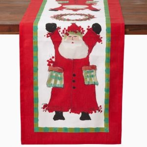 Vietri Old St. Nick Table Runner, Custom Painted Christmas Linen